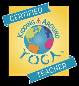 certified kidding around yoga teacher badge