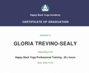 Happy Back Yoga Certification- Gloria Trevino